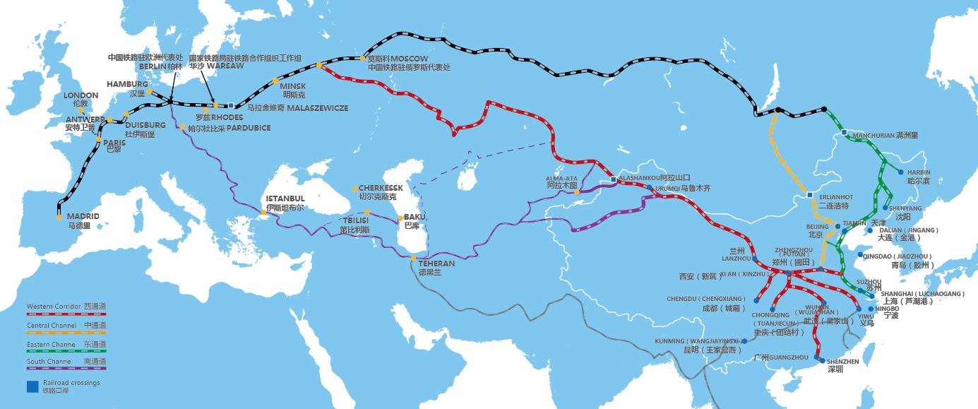 中国铁路2017年中欧班列运行线路和开行车次计划